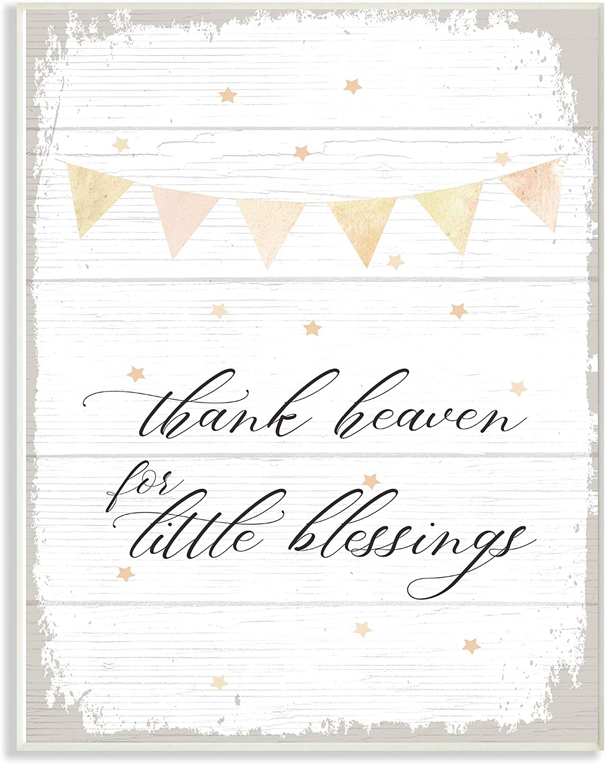 The Kids Room by Stupell Yellow Bunting Thank Heaven for Little Blessings Planked Look Wall Plaque Art, 13 X 19 Multi-color