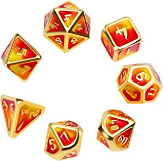 Metal Dice Set Polyhedral DND Role Playing Game Dice Set with Storage Bag for RPG Dungeons and Dragons D&D Math Teaching Tabletop Games (Fire,Standard Size)