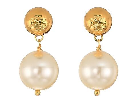 Tory Burch Crystal Pearl Drop Earrings