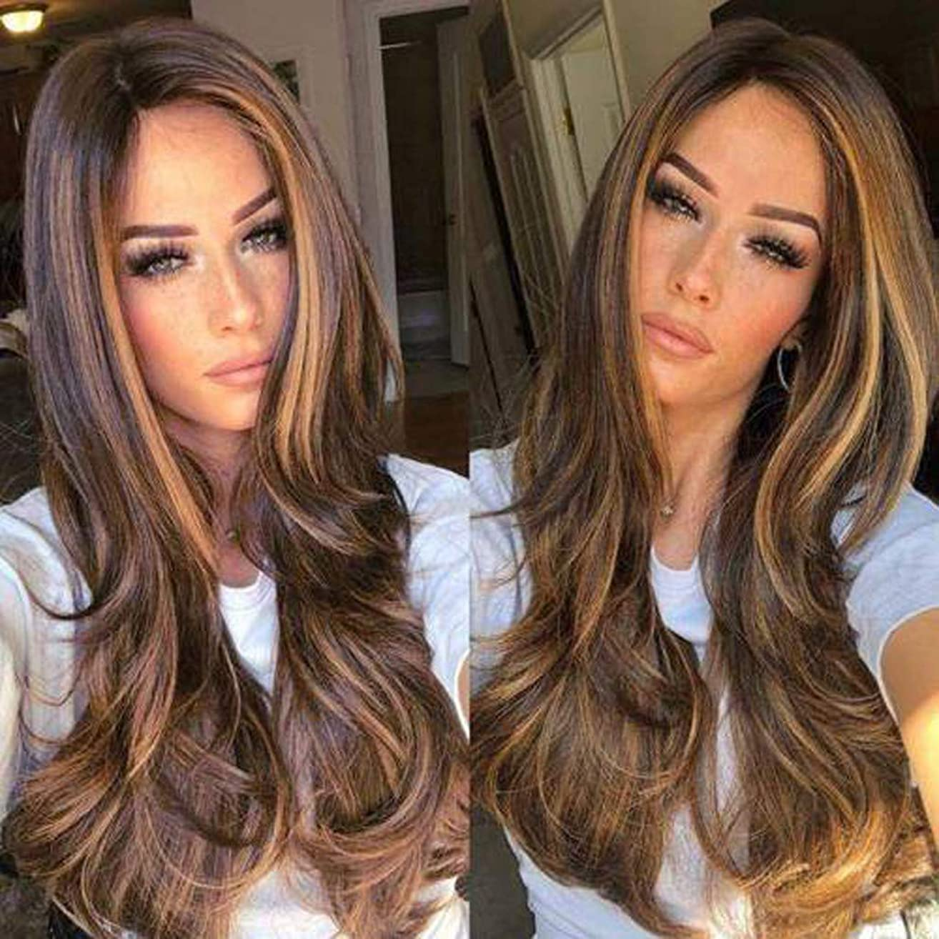 YJYDADA Synthetic Straight Long Wigs Ombre Brown Gold Blonde Linen Fashion Hair