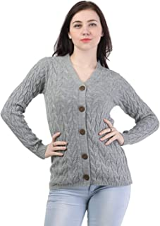 Kalt Women's Full Sleeves Cable Button Acrylic Sweater (Light Grey Melange)