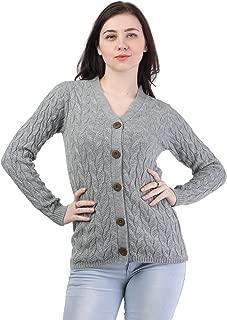 Kalt Women's Full Sleeves Cable Button Acrylic Sweater (Light Grey Melange)