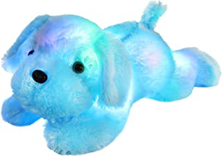 WEWILL LED Puppy Stuffed Animal Creative Night Light Lovely Dog Glow Soft Plush Toy Gifts for Kids on Christmas Birthday Halloween Festivals, 18-Inch, Blue