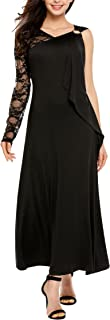 Women's Sexy One Shoulder Sleeveless V-Neck Lace Floral Ruffle Maxi Dress