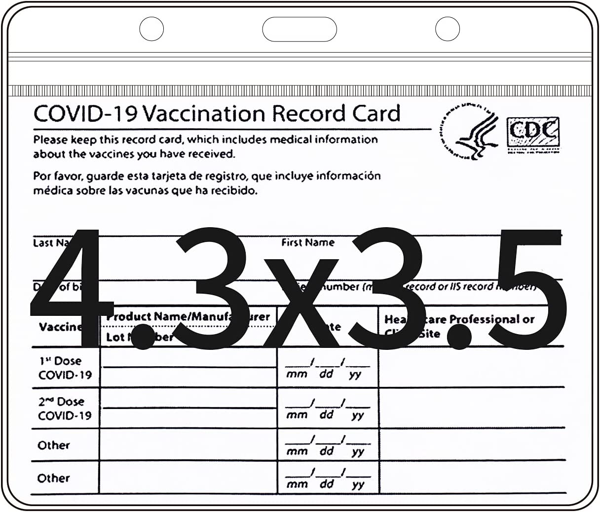 JIALINY CDC Vaccination Card Protector Max 72% OFF 4.3 X 3.5 Immu online shop Inches for