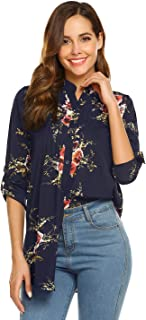 Sufiya Womens V Neck 3/4 Cuffed Sleeve Shirts Henley Blouse Casual Button Down Tunic Tops
