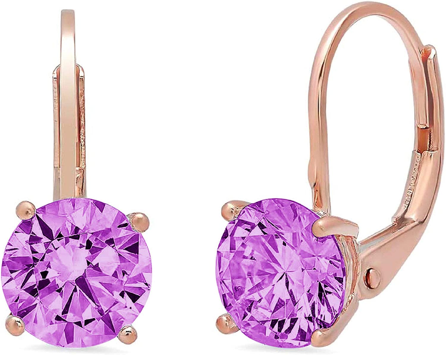 2.9ct Brilliant Round Cut Solitaire Flawless Genuine Simulated CZ Purple Alexandrite Gemstone Unisex Pair of Lever back Drop Dangle Designer Earrings Solid 14k Yellow Back conflict free Jewelry