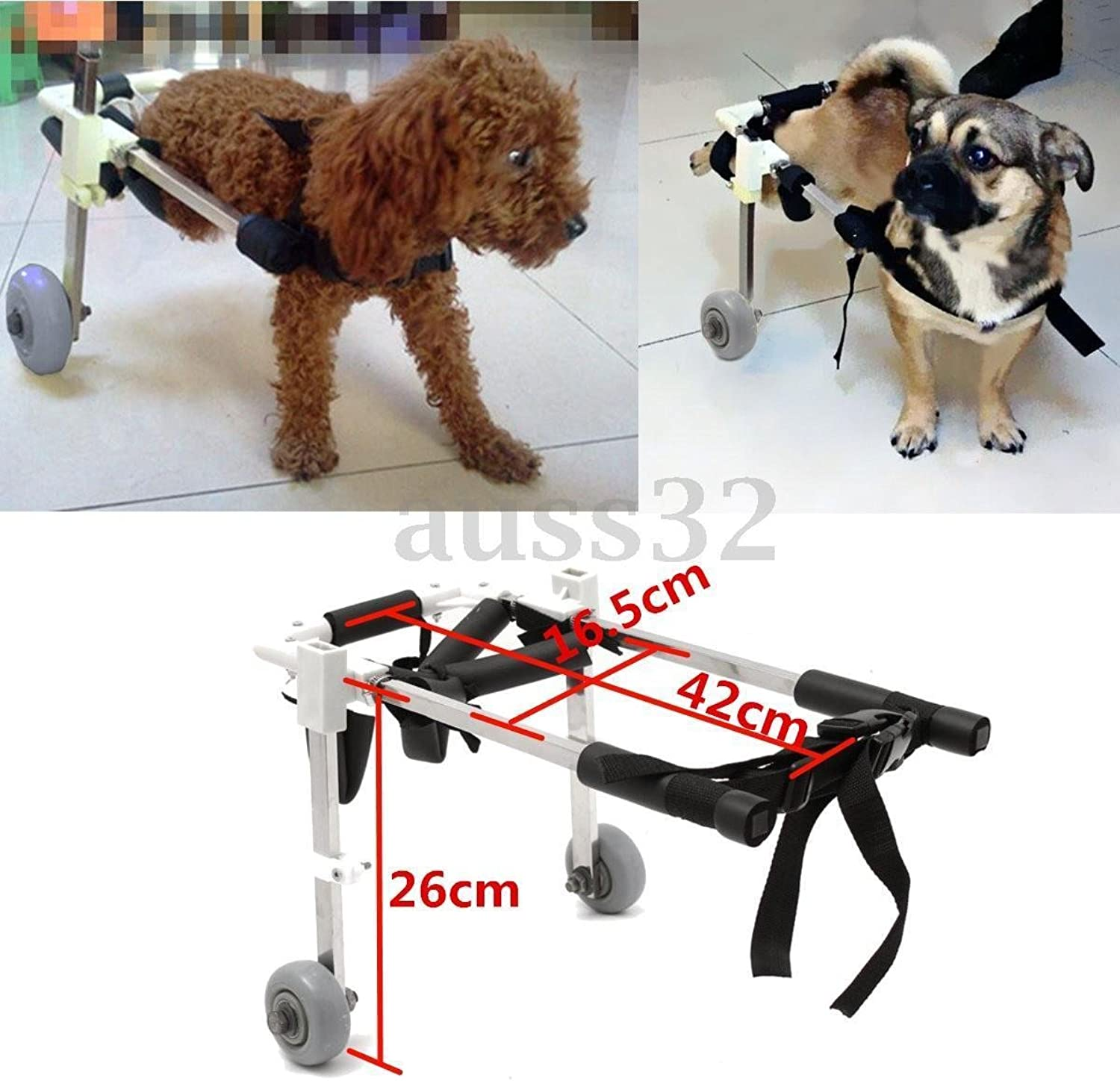 FidgetFidget Pet Wheelchair Cart Height 10 for Handicapped Legs Dog