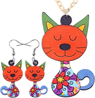 Acrylic Cat Necklace Earrings Jewelry Sets Animal Design Choker Fashion Jewelry For Women Girl Gift FATEGGS (Color : Orange)