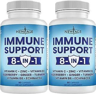 8 in 1 Immune Support Booster Supplement with Elderberry, Vitamin C and Zinc 50mg, Vitamin D 5000 IU, Turmeric Curcumin & ...