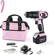 WORKPRO Pink Cordless 20V Lithium-ion Drill Driver Set (1.5Ah), 1 Battery, Charger and Storage Bag Included