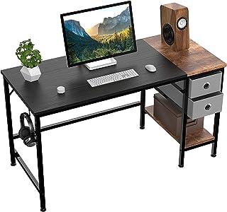 HOMIDEC Bureau d'ordinateur,Table de Bureau avec tiroirs Bureau d'écriture d'étude pour la Maison avec étagères de Rangeme...