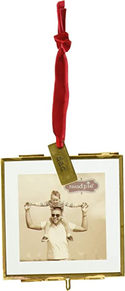 Mud Pie Hanging Glass Dad Ornament Picture Frame Gold