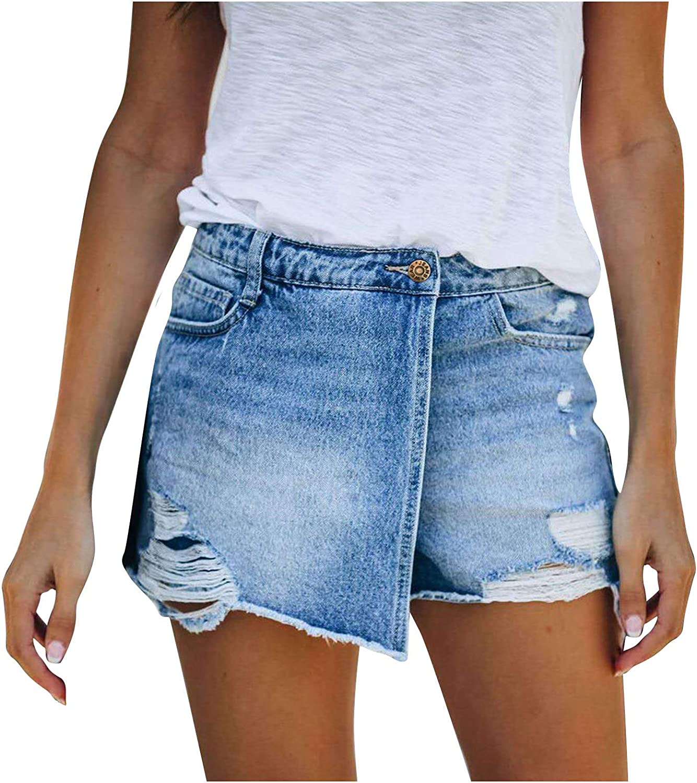 POLLYANNA KEONG Casual Ripped Denim Shorts High Waist Stretchy Frayed Raw Hem Biker Short Jeans Plus Size