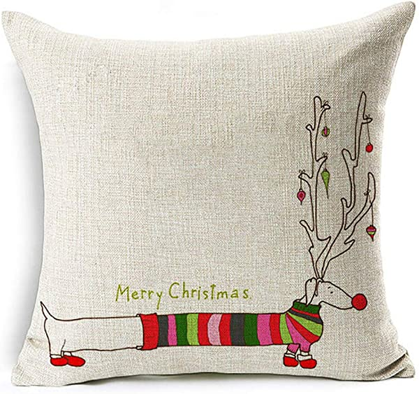 Ameesi Christmas Dog Santa Claus Reindeer Cushion Cover Throw Pillow Case Sofa Decor 6 Dachshund Christmas
