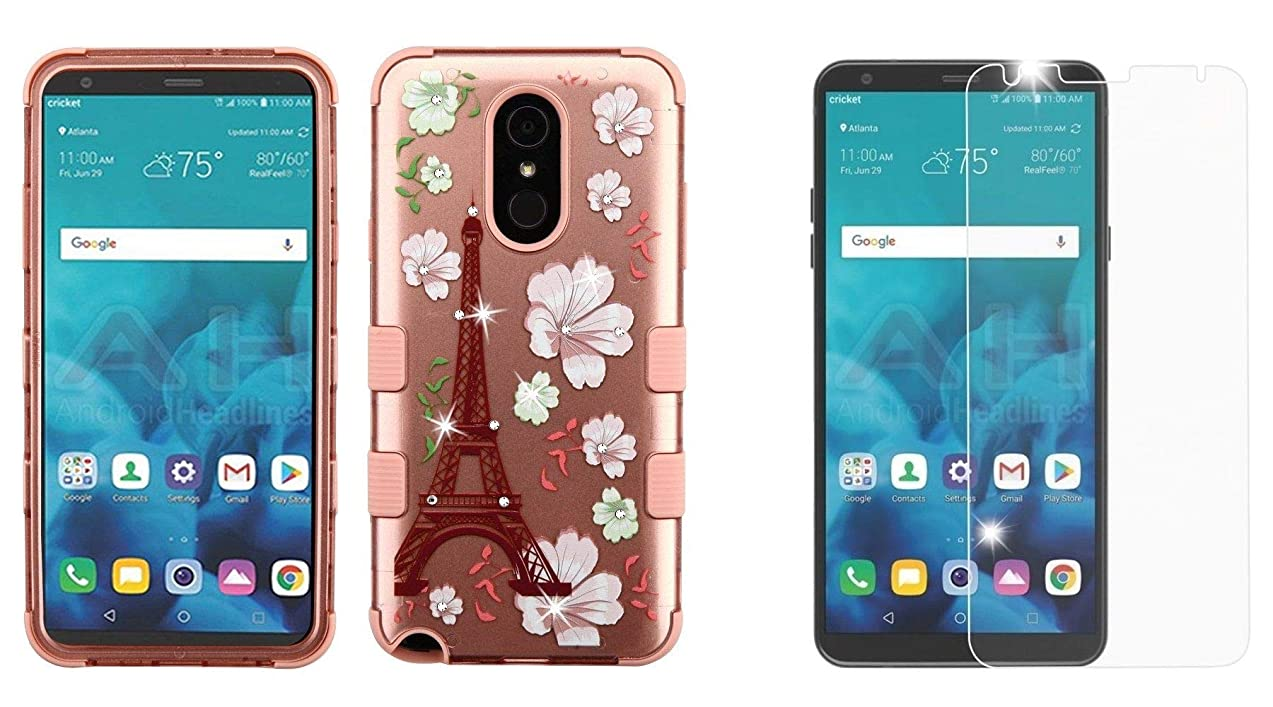 TUFF 2D Series Bundle Compatible with LG Stylo 4+ Plus, LG Stylo 4 with Military Grade Hybrid Protector Case (Paris Eiffel Tower Flowers Bling), Tempered Glass Screen Protector and Atom Cloth