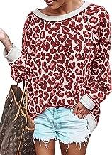 BTFBM Women's Fashion Color-Block Leopard Print Sweatshirt Crew Neck Long Sleeve Loose Soft Basic Shirt Pullover Tops