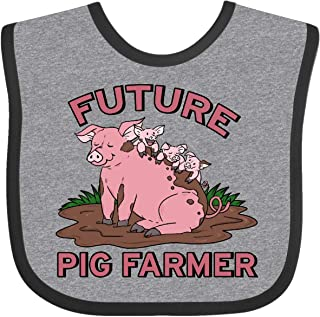 Inktastic Future Pig Farmer with Cute Pig Family Baby Bib Heather and Black
