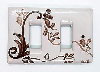 Placchette Bticino Magic Ceramica Handmade Le Ceramiche del Castello Made in Italy (2 fori/pulsanti, Classico Marrone)