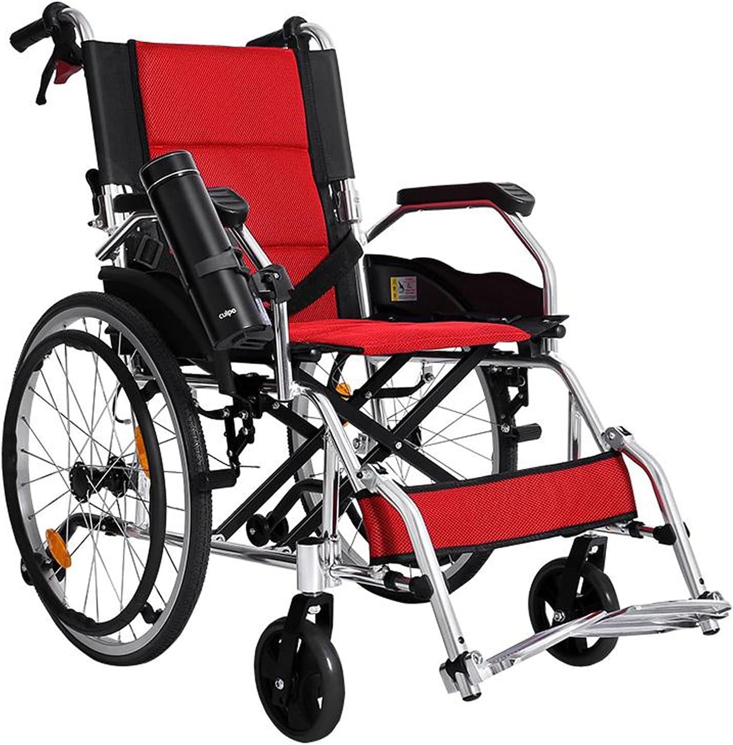 Silla de ruedas ultraligera Silla de ruedas plegables ligeras con 18 '' asiento acolchado de respaldo ergonómico Transporte silla de ruedas con freno de mano y reposapiés, 220 LB Capacidad de peso Sil