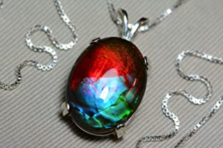 Ammolite Necklace, Sterling Silver, 20x15mm Pendant, Alberta Canada Gem Jewelry, Wood Gift Box, Real Natural Genuine Ammolite Jewellery T36
