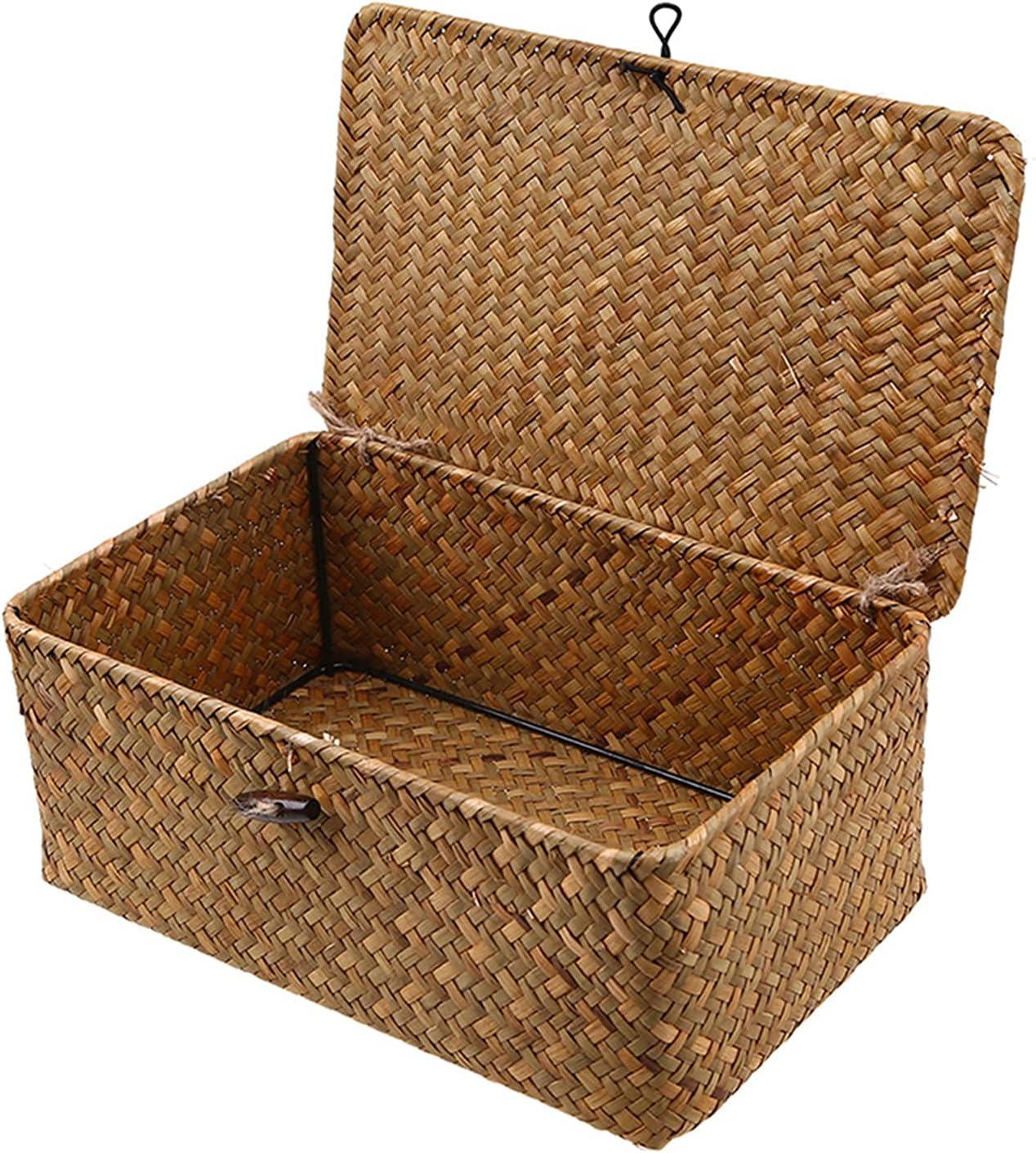 IHONYI Cesta de almacenamiento con tapa, cesta de almacenamiento trenzada a mano, cesta de mimbre natural, multiusos, para baño, cocina, organizador del hogar (mediano)