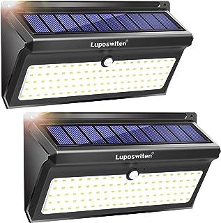 Focos Solares, Luposwiten 100 LED Lamparas Solares Exterior, 2000LM Luz Solar Exterior con Sensor de Movimiento, 2400mAh Luces Solares para Jardins, Garaje, Acera, Escaleras(2 Pieza)