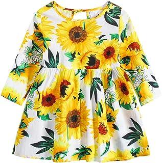 Toddler Girls Summer Dress Long Sleeve Floral Print Dresses Kids Baby Beachwear Midi Skater Dress 6Months-6Years