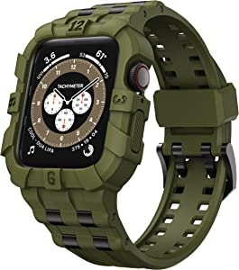 T-ENGINE Band Compatible with Apple Watch 44mm SE Series 6 Series 5 4, TPU Protective Raised Edge Case with Band Inserted 316L Steel Shreds for Men