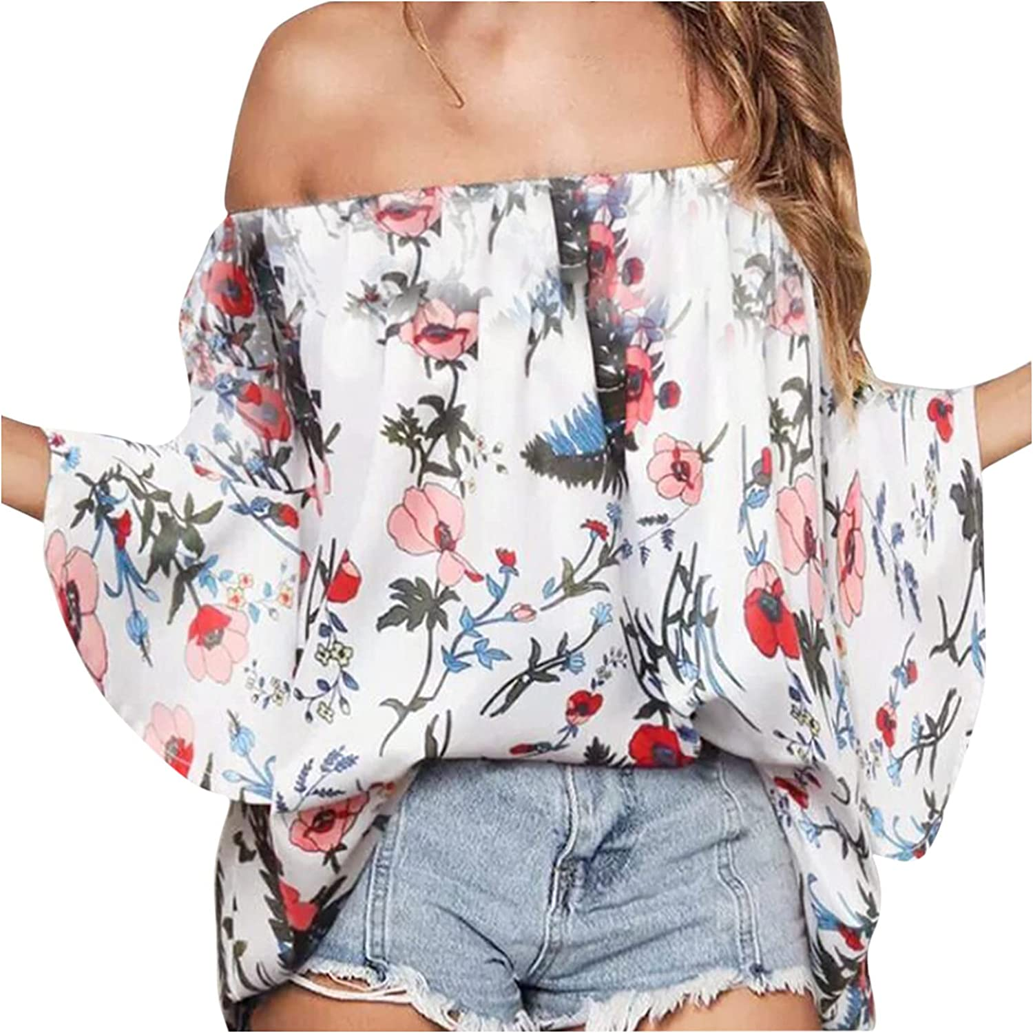 Women's Blouses and Tops Three-quarter Sleeves Loose Age-reducing Temperament Printed T-Shirt Top Blouse