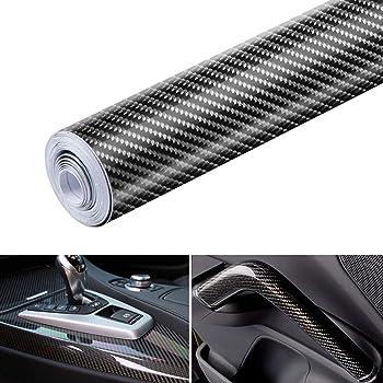 Película autoadhesiva de vinilo de fibra de carbono 6D, resistente al agua, sin burbujas, adaptada a la apariencia y al interior de motocicletas, computadoras, coches, 0.3 m x 3 m