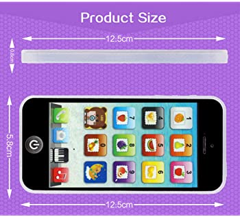 Cooplay Black Yphone Y-phone Phone Toy Play Music Learning English Educational Cell Phone Mobile Best Prize for Baby ...