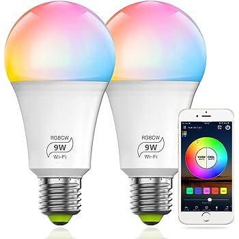 WiFi Smart Light Bulb E27 7W RGB+CW LED Lamp Amazon Alexa//Google Home Control
