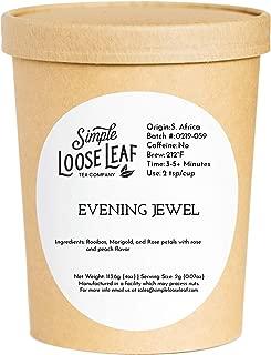 Simple Loose Leaf - Evening Jewel Tea - Premium Loose Leaf Herbal Tea (4 oz) - Caffeine Free - Hint of Rose, Peach - USA Hand Packaged - 60 Cups