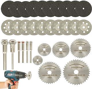 You's Auto 32 Pcs Circular Saw Blade Set 26 Cutting Wheel Discs with 6 Mandrels Mini HSS Saw Blades Diamond Cutting Discs ...
