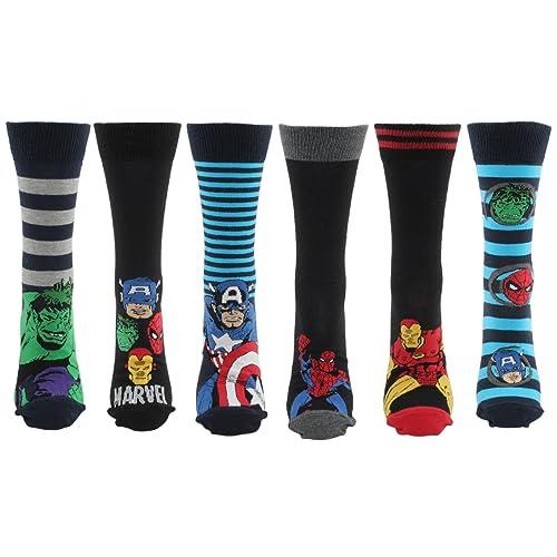 98490bd413e Marvel Comics 6 Pairs of Mens Superhero Socks 6-11
