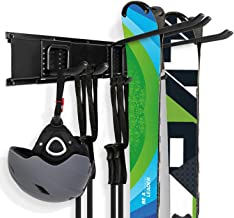 Odoland Ski Storage Racks Holds 3/5 Pairs of Skis and Poles, Wall Mounted Storage Rack with Metal Frame and Padded Hooks for Home, Garage and Outdoors Ski Snowboard Wall Storage Rack