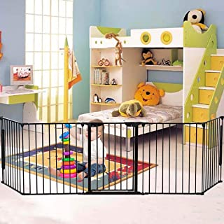 Shelf Baby Safety Playpen, Hearth Gate, Metal Fire Gate with Automatically Close Door, Room Divider, 305cm Fireplace/Pet F...