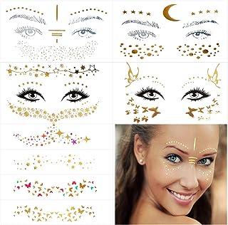 برچسب 10 برگ خال کوبی صورت ، برچسب کک و مک و خال کوبی موقت صورت فلزی برای زنان