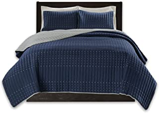 Comfort Spaces Bayley Reversible Embroidery Stitched 3 Piece Quilt Coverlet Bedspread Bedding Set, Full/Queen, Navy