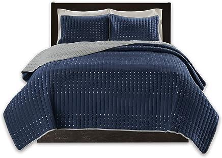 Adyonline 3 Pcs Jersey Cotton Comforter Cover Set Solid Pattern 1 Duvet Cover,2 Pillow Shams Bedding Set-Breathable/&Lightweight\Navy Blue,King Ady012-Navy Blue\King