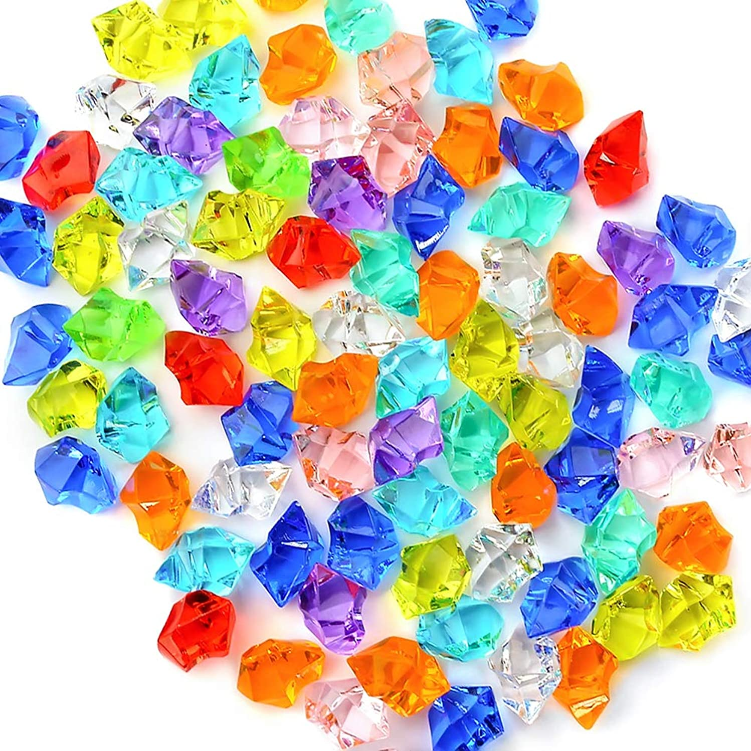 Premium Multicolored Fake Crushed Ice Rocks, 150 PCS Fake Diamonds Plastic Ice Cubes Acrylic Clear Ice Rock Diamond Crystals Fake Ice Cubes Gems for Decoration Wedding Display Vase Fillers by DomeStar