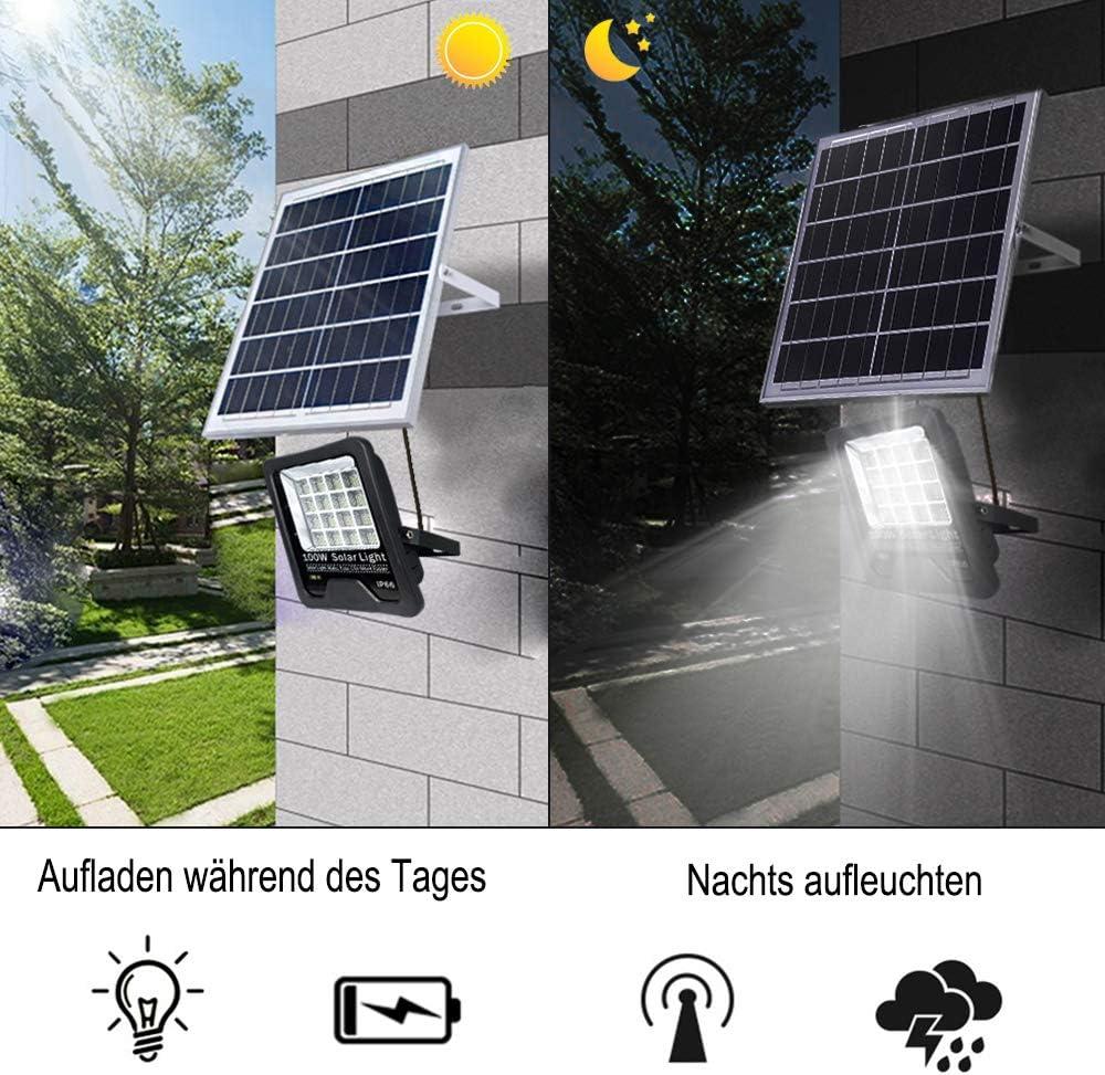UISEBRT 100W LED Solar Strahler Solarlampe Außen - LED Flutlicht Solarleuchten Sicherheitsleuchte Warmweiß Wasserdicht IP66 für Garage, Garten, Hotel, Sportplatz, Patio (100W, Warmweiß) 50w, Kaltweiß