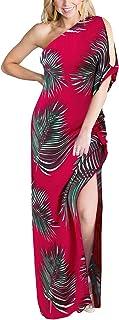 LANISEN Womens Sexy One Shoulder Boho Floral Print Side Split Beach Party Maxi Dress