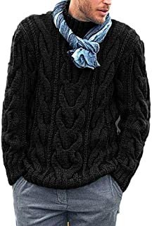FUERI Mens Knitted Jumper Cable Knit Ribbed Sweater Long Sleeve High Neck Jumper Thick Pullover Winter Knitwear