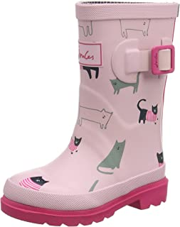 Joules Youth Rose Pink Cat Wellington Boots
