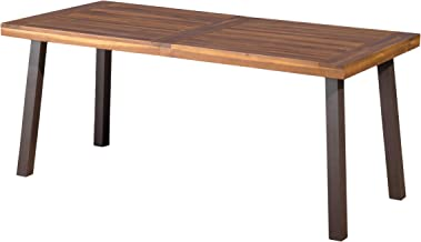 Christopher Knight Home Della Acacia Wood Dining Table, Natural Stained With Rustic Metal
