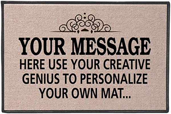WHAT ON EARTH Your Message Here Create Your Own Personalized Custom Doormat Indoor Outdoor Olefin Welcome Mat