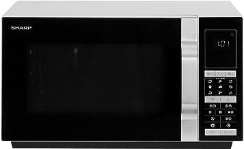 Sharp R890S - Microondas (Sobre el rango, Microondas combinado, 28 L, 900 W, Tocar, Negro, Plata)