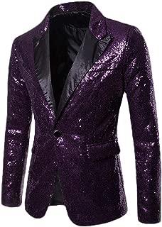 Men Sequin Casual One Button Suit Blazer Coat Jacket Party